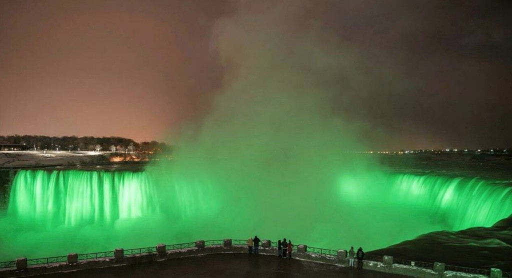 Niagara Falls is turning green in honour of St Patrick's Day