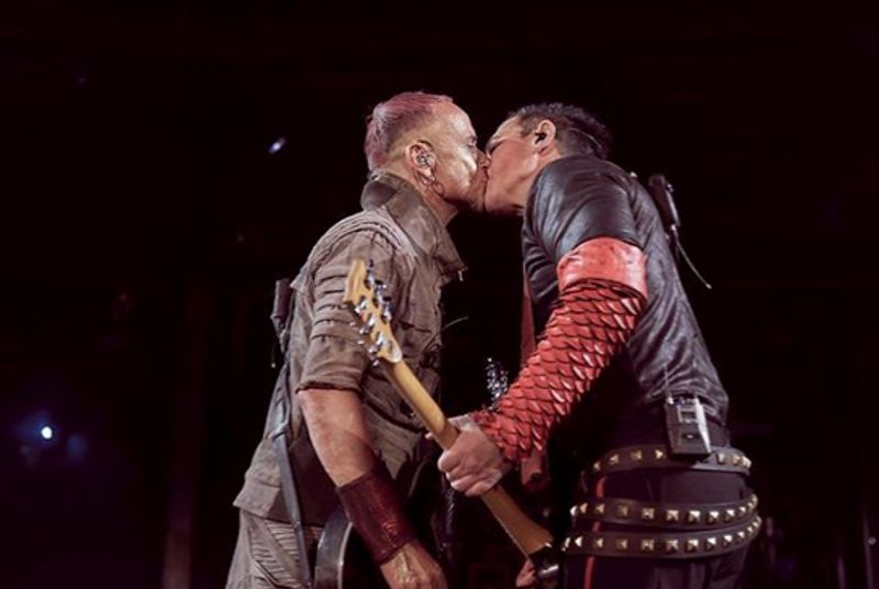 Rammstein members kiss while performing in Russia to protest anti-LGBTQ laws