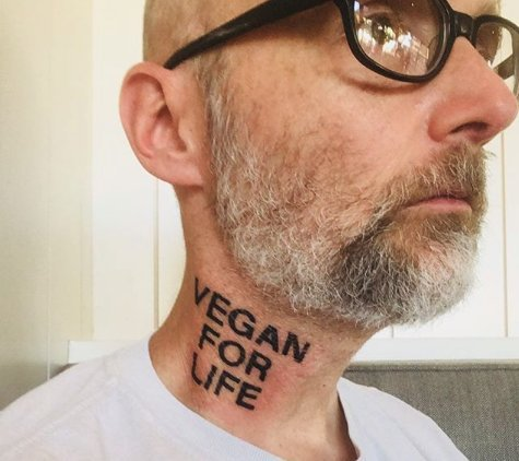 Moby just got a 'Vegan For Life' tattoo on his neck