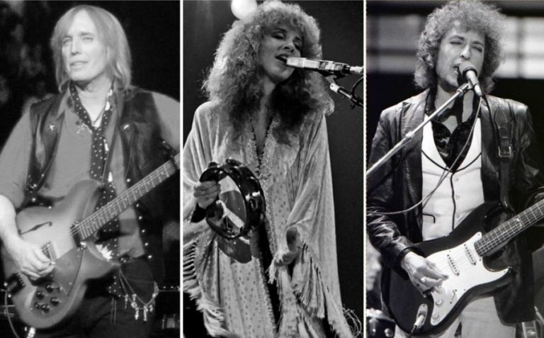 Watch Stevie Nicks join Tom Petty and Bob Dylan on stage to perform 'Knockin' on Heaven's Door' in 1986
