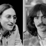Footage of John Lennon and George Harrison recording 'How Do You Sleep?'