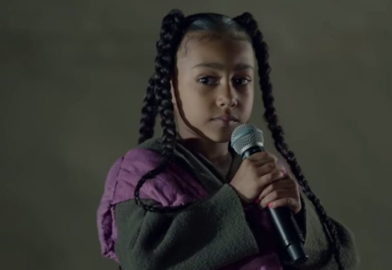 Watch Kanye West's six-year-old daughter North makes rap debut at Yeezy show in Paris