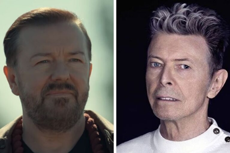 David Bowie's final appearance was alongside Ricky Gervais