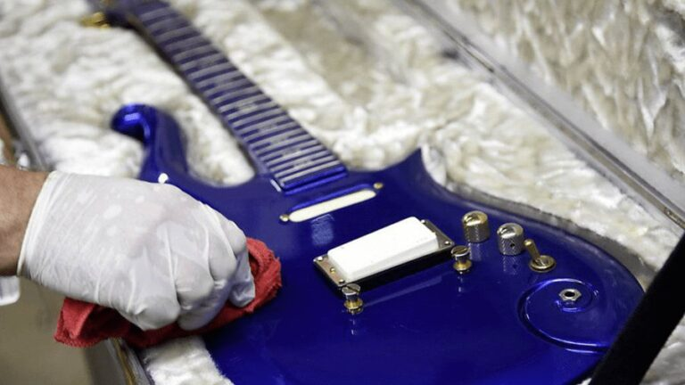 Rare and long-lost Prince 'Blue Angel Cloud' guitar sells for £450,000 at auction