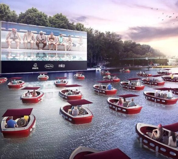 Floating cinema launching on the river Seine in Paris