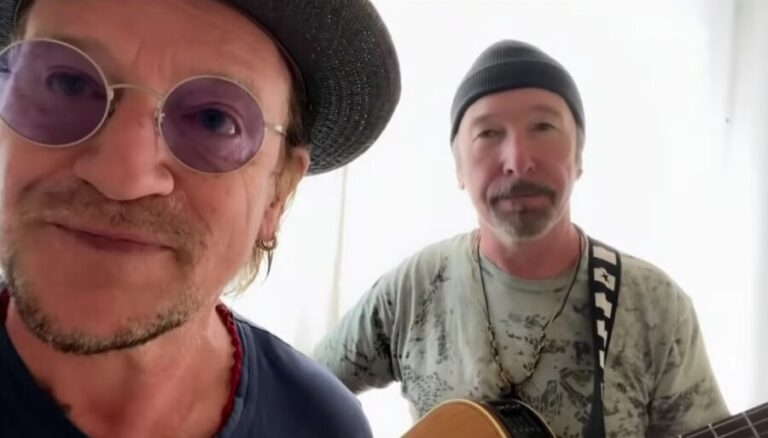 U2 duo Bono and the Edge cover Led Zeppelin song 'Stairway to Heaven'