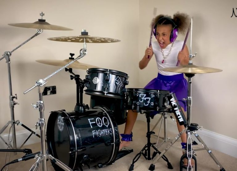 10-year-old Nandi Bushell challenges Dave Grohl to a drum battle with epic Foo Fighters cover