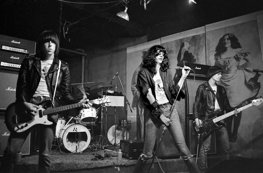 The Ramones: Johnny, Joey and Dee Dee Ramone onstage at CBGB